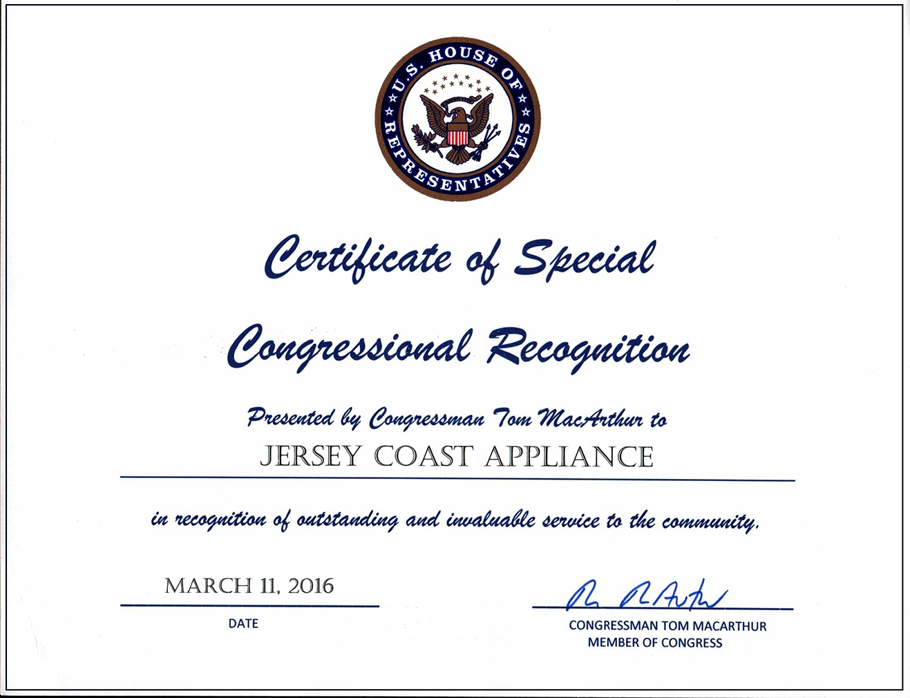 Congressionl-Recognition
